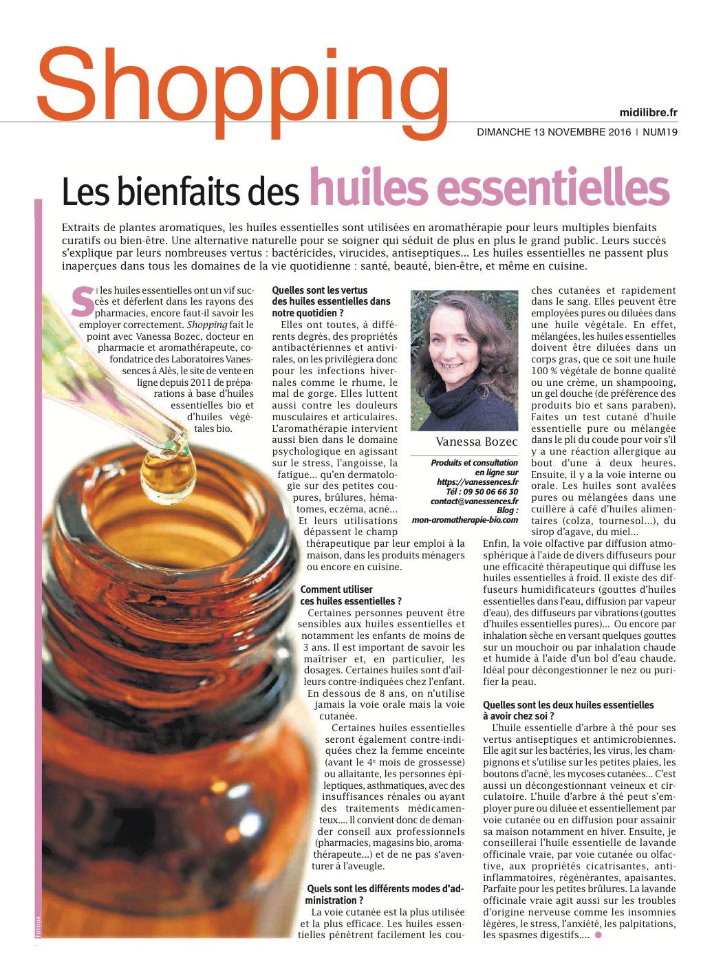 Les bienfaits des huiles essentielles. Interview de Vanessa Bozec docteur en pharmacie aromathérapeute dans Midi Libre.